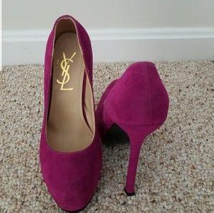 YSL Suede Magenta Size 7 Heels